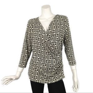 Talbots V Neck Black Cream Ruched Top L 3/4 Sleeve